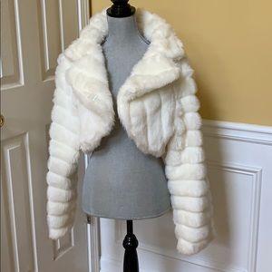 White Cropped Faux Fur Jacket